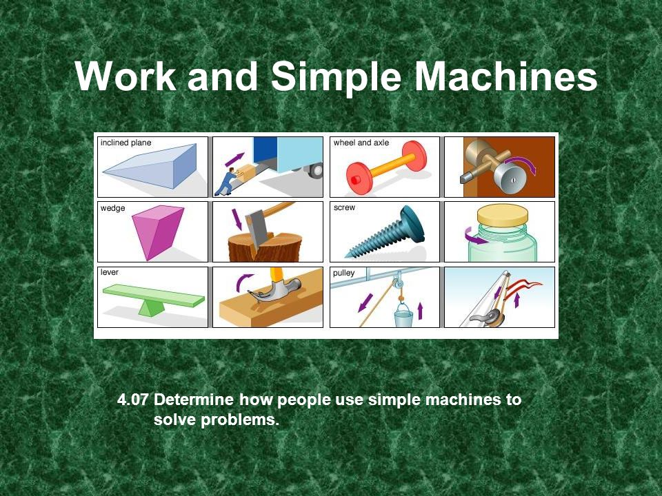 Work Work is moving an object over a distance.A machine has one job: to make work easier.