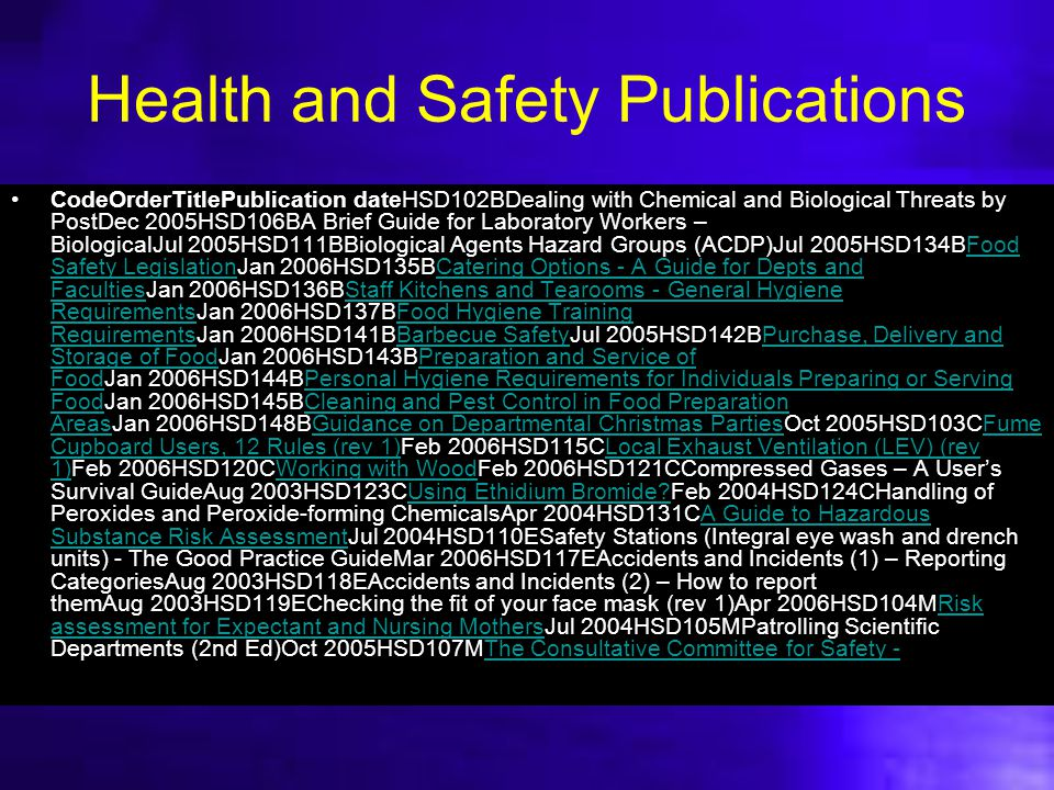 Health and Safety Publications CodeOrderTitlePublication dateHSD102BDealing with Chemical and Biological Threats by PostDec 2005HSD106BA Brief Guide f