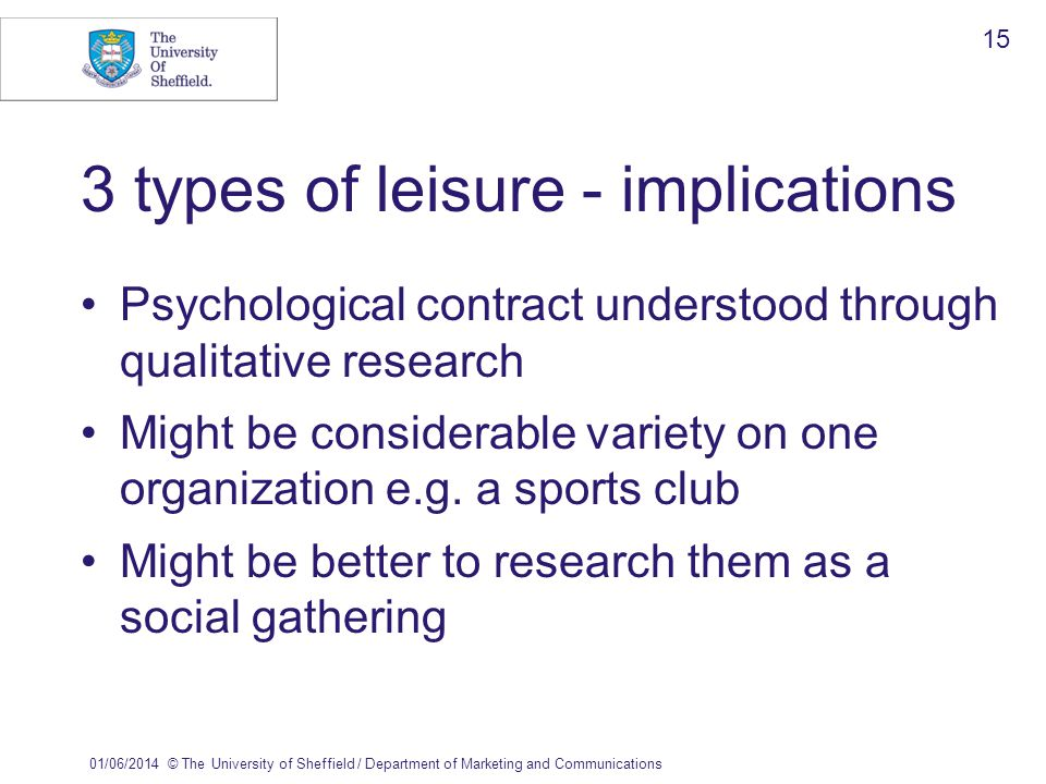 01/06/2014© The University of Sheffield / Department of Marketing and Communications 15 3 types of leisure - implications Psychological contract understood through qualitative research Might be considerable variety on one organization e.g.