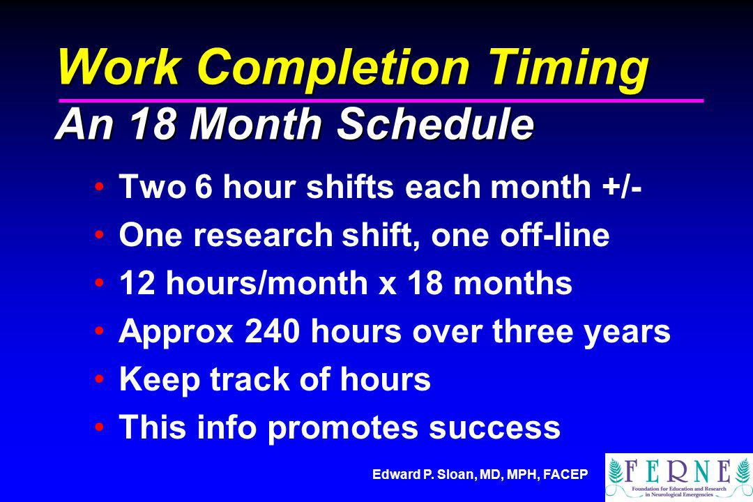 Edward P. Sloan, MD, MPH, FACEP Work Completion Timing An 18 Month Schedule Two 6 hour shifts each month +/- One research shift, one off-line 12 hours