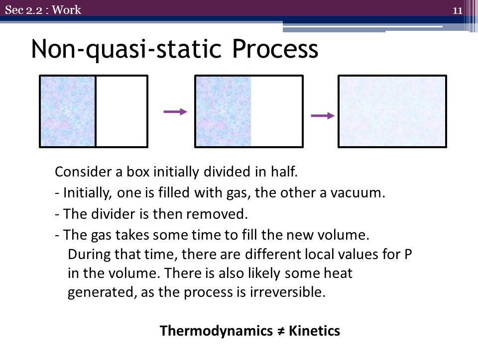 11 Sec 2.2 : Work Consider a box initially divided in half. - Initially, one is filled with gas, the other a vacuum. - The divider is then removed. -