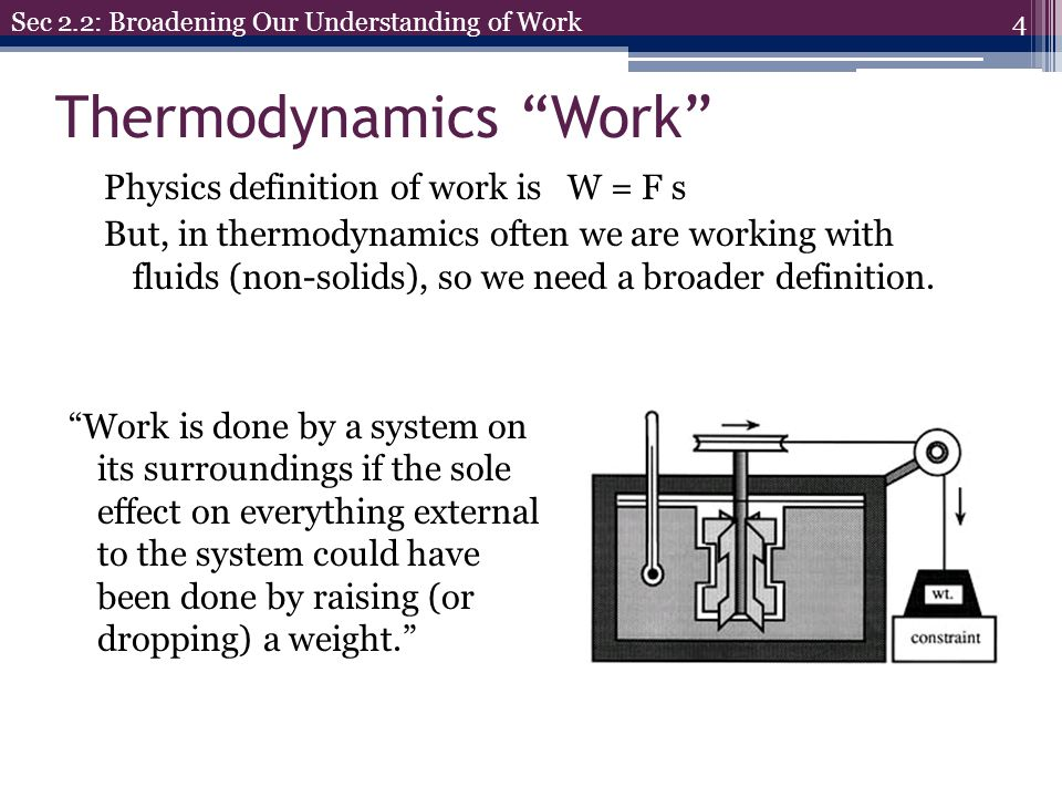 Energy Physics energy types Kinetic Energy: Energy of objects in motion Potential Energy: Energy of objects in a field (g,E,B) Internal Energy Spring Chemical Pressure 15 Sec 2.3: Broadening Our Understanding of Energy Pressure can be a form of energy if P> P atm P atm P Thus, the general energy equation is