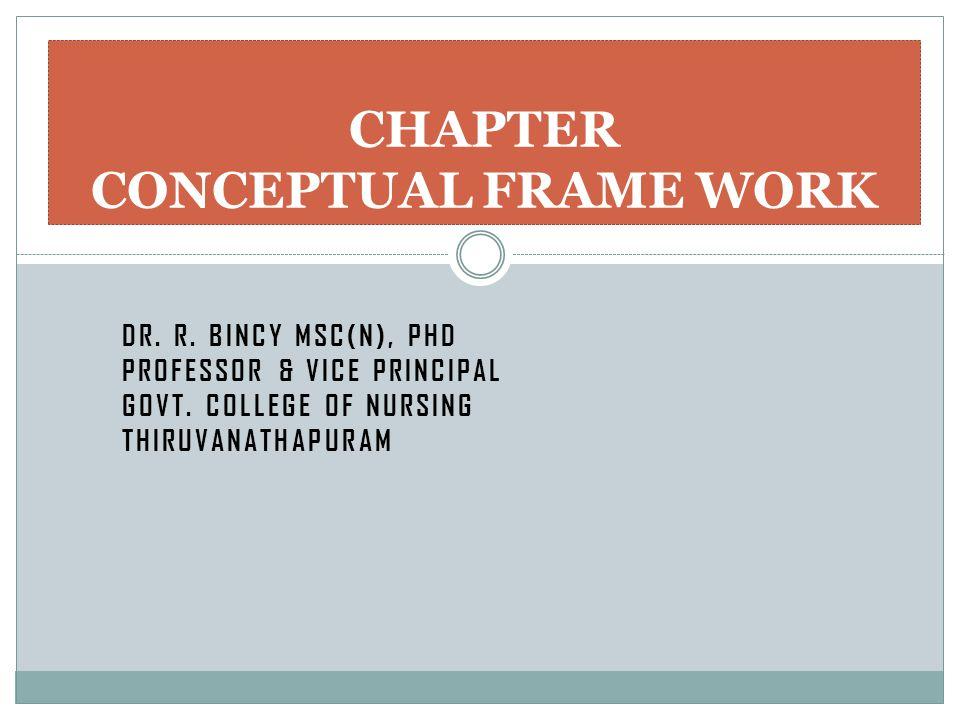 DR. R. BINCY MSC(N), PHD PROFESSOR & VICE PRINCIPAL GOVT. COLLEGE OF NURSING THIRUVANATHAPURAM CHAPTER CONCEPTUAL FRAME WORK