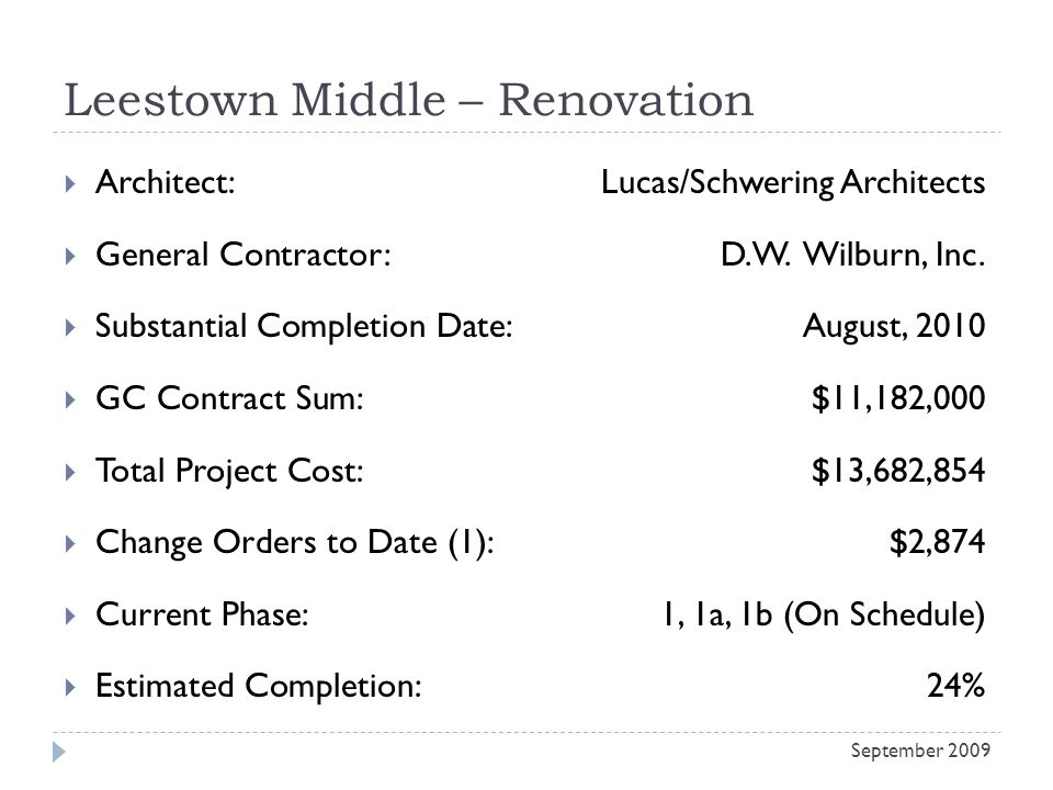 Leestown Middle – Renovation Architect: Lucas/Schwering Architects General Contractor: D.W.