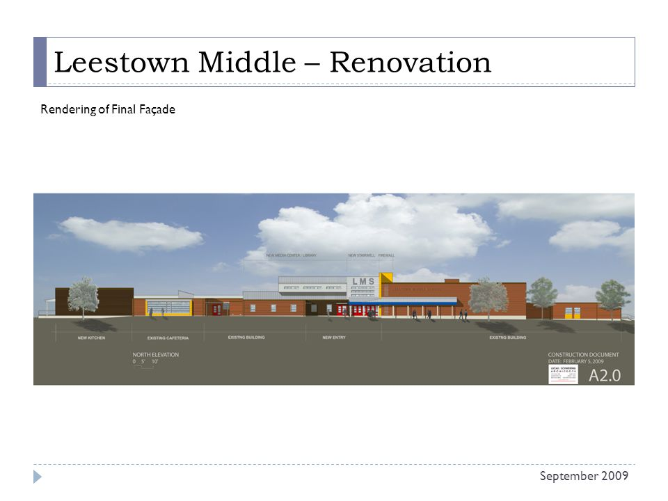 Leestown Middle – Renovation Rendering of Final Façade September 2009
