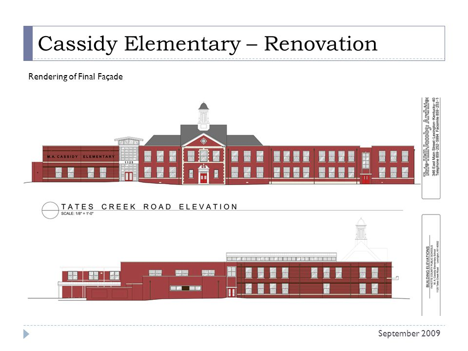 Cassidy Elementary – Renovation Rendering of Final Façade September 2009