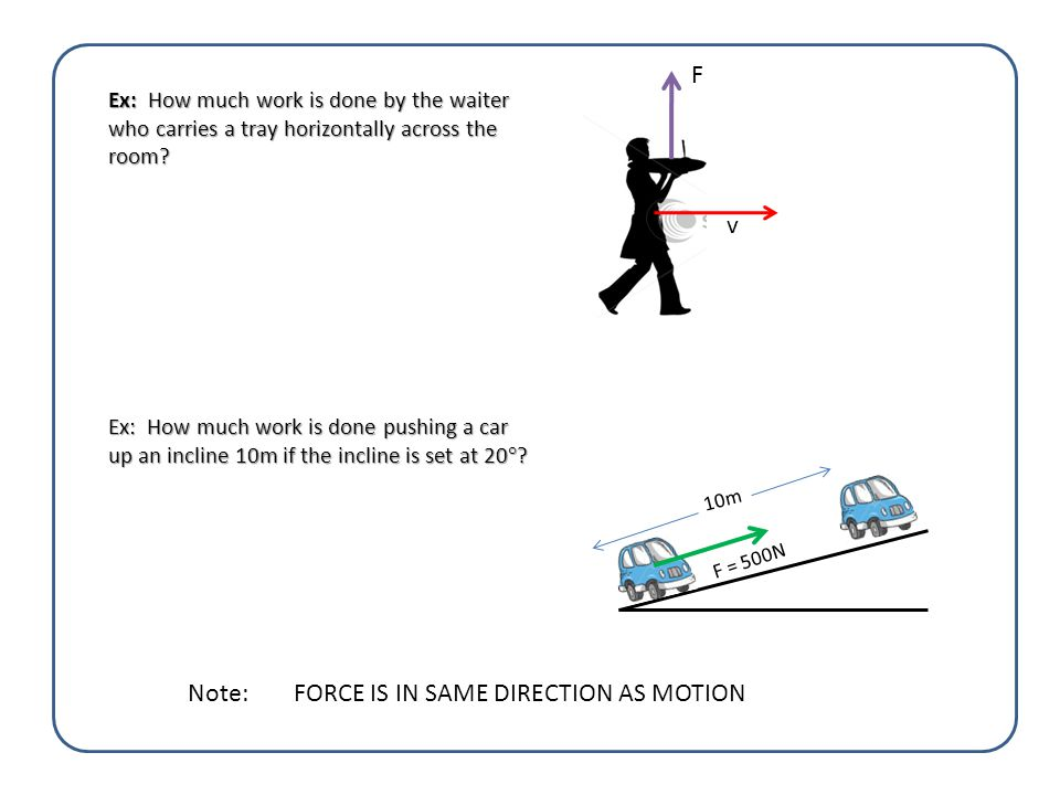 Ex: A box is pulled by a rope with a force of 10N at 30 ° for 2m.