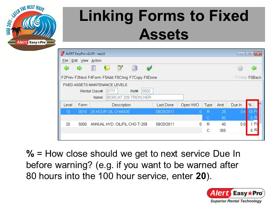 Linking Forms to Fixed Assets % = How close should we get to next service Due In before warning? (e.g. if you want to be warned after 80 hours into th