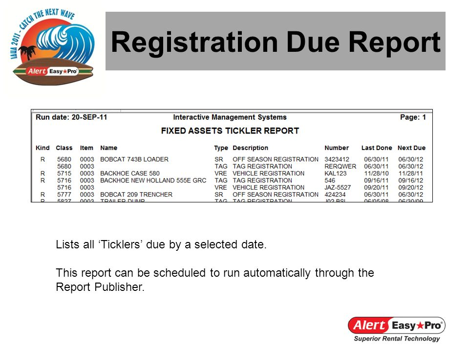 Registration Due Report Lists all Ticklers due by a selected date. This report can be scheduled to run automatically through the Report Publisher.