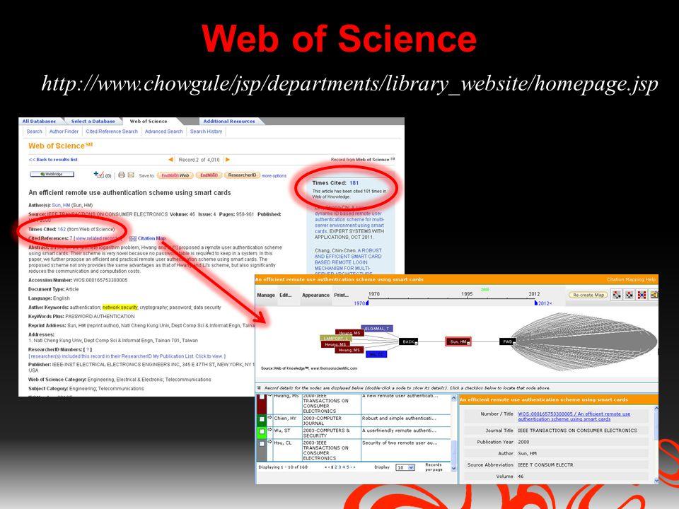 Web of Science http://www.chowgule/jsp/departments/library_website/homepage.jsp