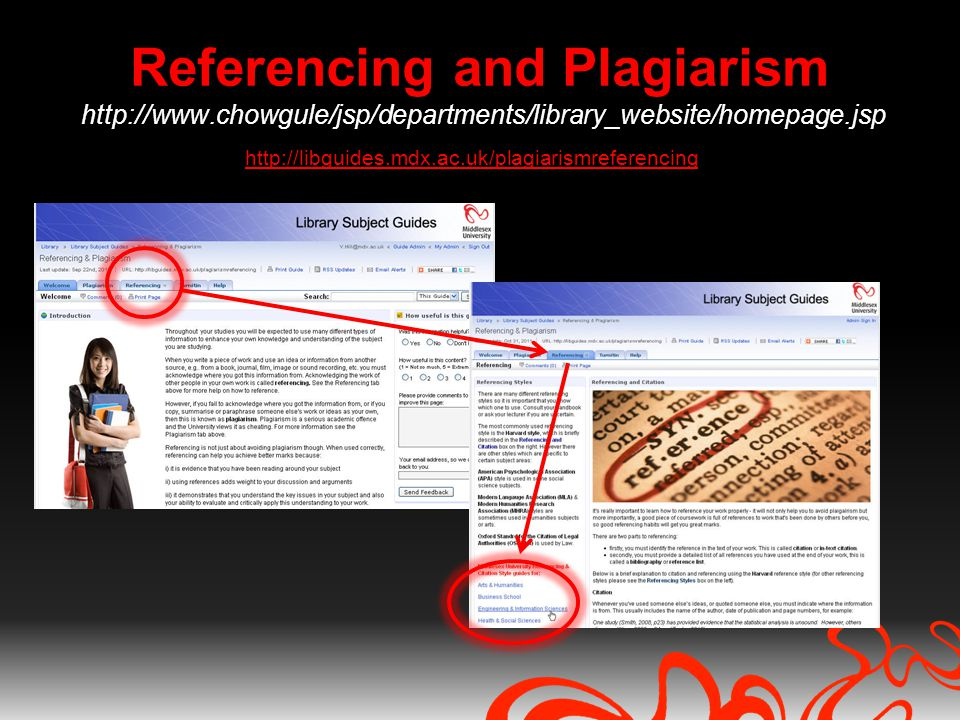Referencing and Plagiarism http://www.chowgule/jsp/departments/library_website/homepage.jsp http://libguides.mdx.ac.uk/plagiarismreferencing
