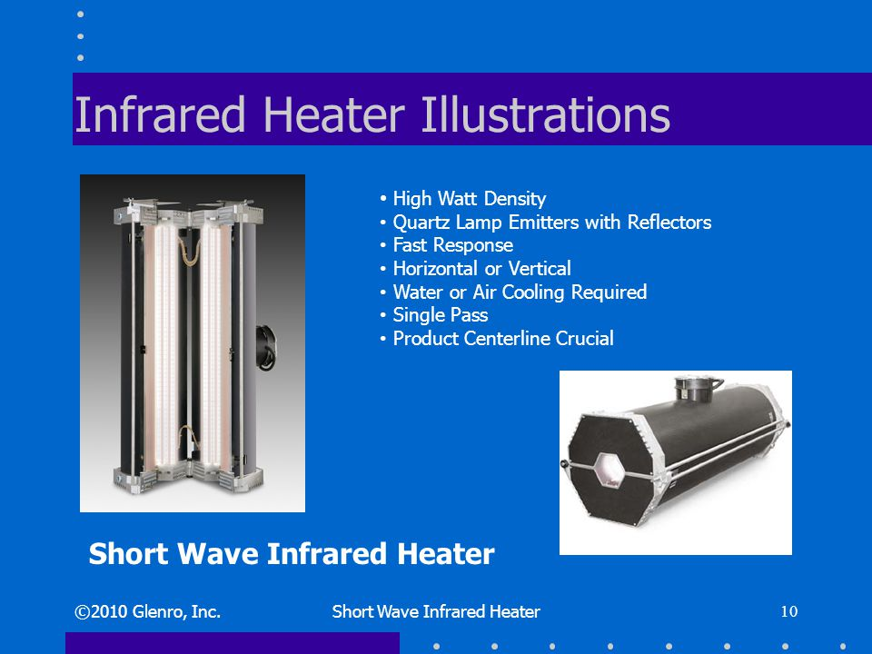 Infrared Heater Illustrations ©2010 Glenro, Inc.Short Wave Infrared Heater 10 High Watt Density Quartz Lamp Emitters with Reflectors Fast Response Horizontal or Vertical Water or Air Cooling Required Single Pass Product Centerline Crucial Short Wave Infrared Heater