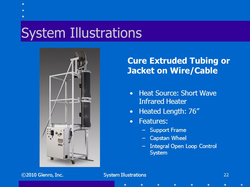 System Illustrations Heat Source: Short Wave Infrared Heater Heated Length: 76 Features: –Support Frame –Capstan Wheel –Integral Open Loop Control System ©2010 Glenro, Inc.System Illustrations 22 Cure Extruded Tubing or Jacket on Wire/Cable