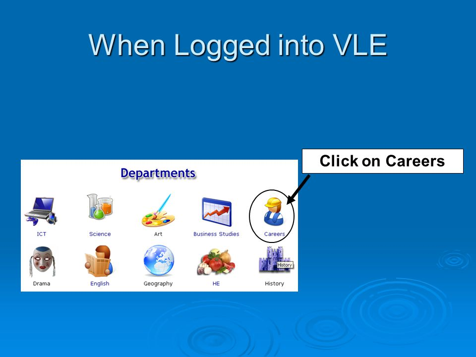 When Logged into VLE Click on Careers