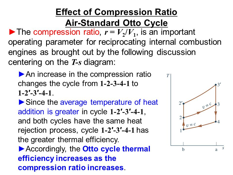 The compression ratio, r = V 2 /V 1, is an important operating parameter for reciprocating internal combustion engines as brought out by the following