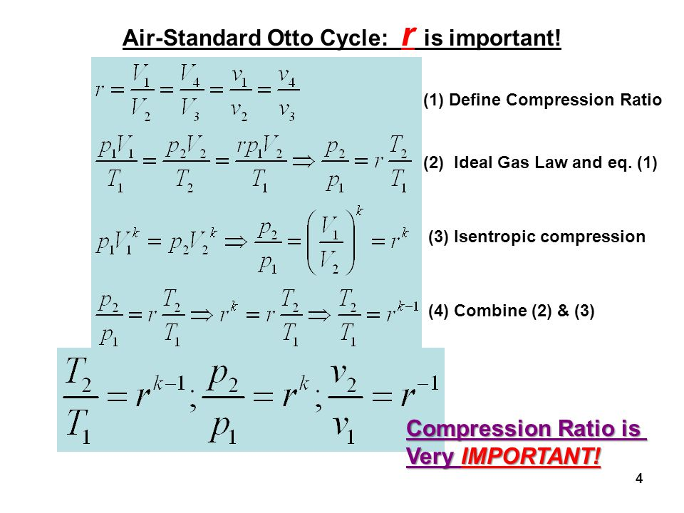 4 Air-Standard Otto Cycle: r is important! (1) Define Compression Ratio (2) Ideal Gas Law and eq. (1) (3) Isentropic compression (4) Combine (2) & (3)