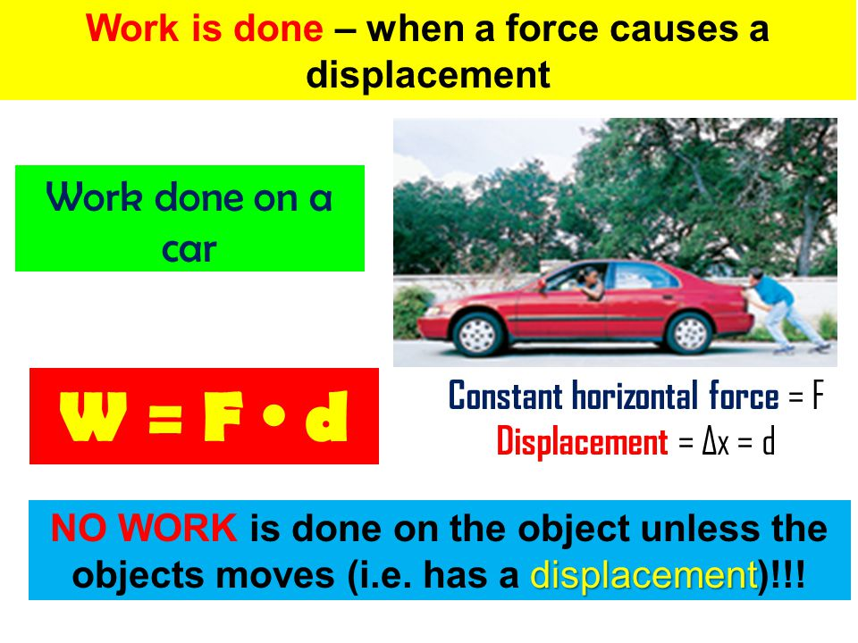 Work is done – when a force acts on an object AND the object must move in the direction of that force Work done on a crate NO WORK is done on the object if the force is non – parallel to the direction of the displacement W = F d