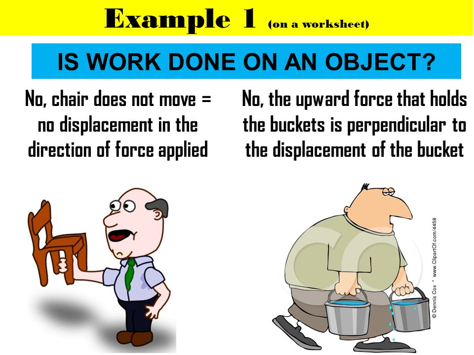IS WORK DONE ON AN OBJECT? Example 1 (on a worksheet) No, chair does not move = no displacement in the direction of force applied No, the upward force