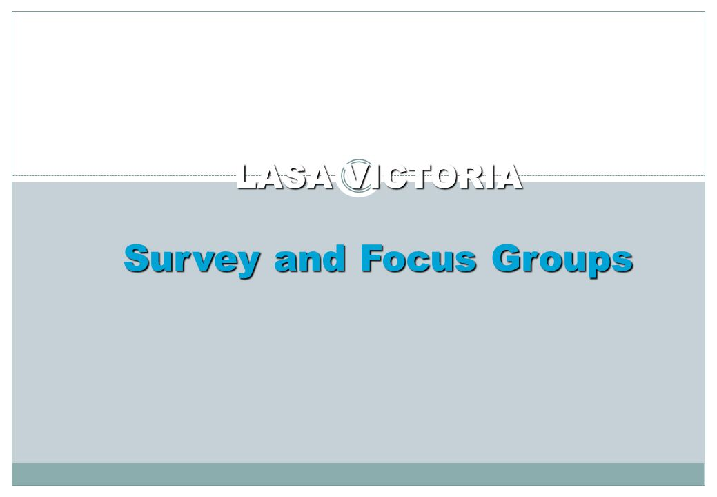 The Process Survey – Broad View 24 of 28 responses Overall satisfaction, 9 broad areas Included LASA VIC staff values Focus Groups – More Specific Details 4 groups and individual manager sessions Open ended approach: Positives, Issues/Concerns and Strategies