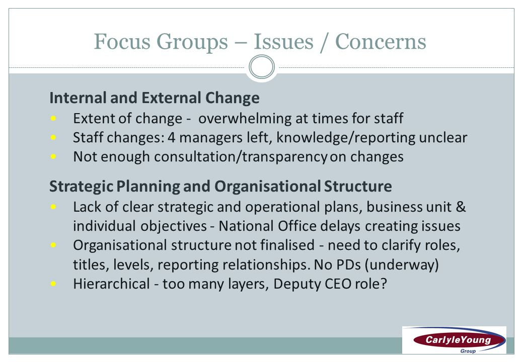 Focus Groups – Issues / Concerns Management and Communication New management - different values/style - less information – assumptions and rumours (improved recently) Job security concerns Performance Management and Feedback More performance reviews, positive feedback, consistency Staff development not distributed fairly – need SD plan Policies, Quality Systems and Processes Lack of policies, quality systems and processes HR policies and procedures insufficient/non-existent IT systems are ineffective and inefficient