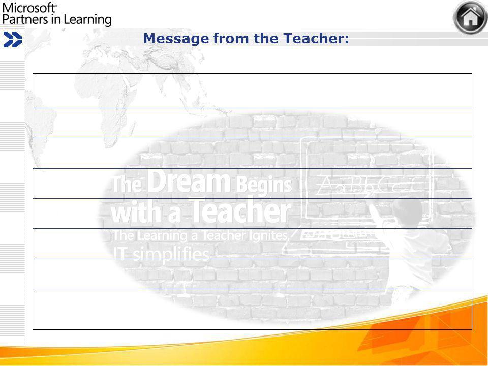Message from the Teacher: