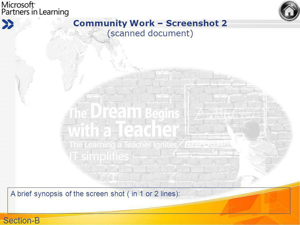 Community Work – Screenshot 2 (scanned document) A brief synopsis of the screen shot ( in 1 or 2 lines): Section-B