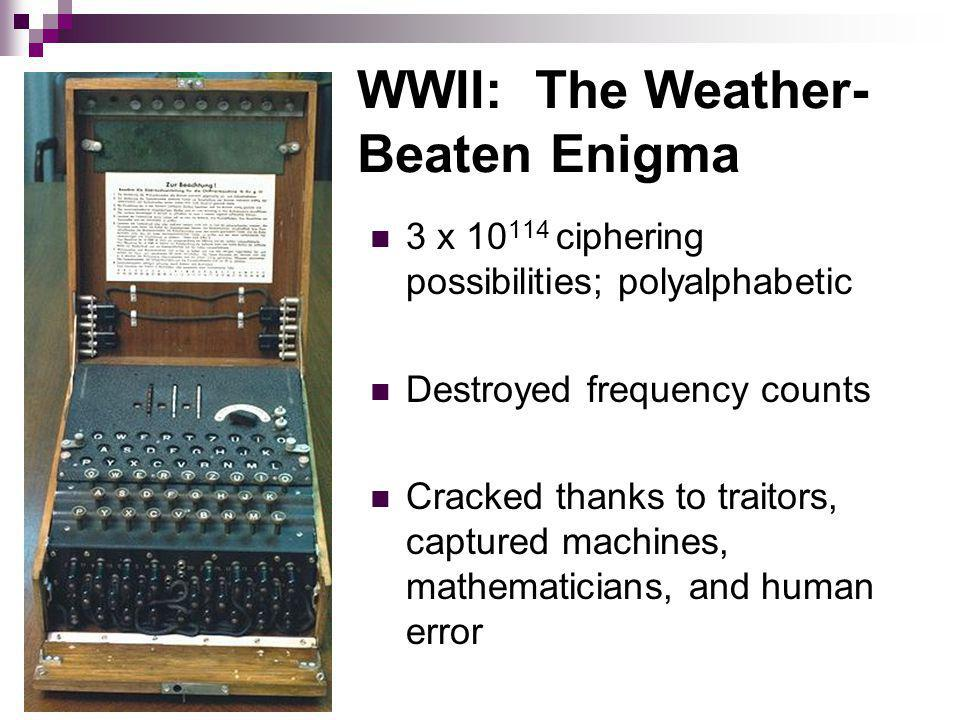 WWII: The Weather- Beaten Enigma 3 x 10 114 ciphering possibilities; polyalphabetic Destroyed frequency counts Cracked thanks to traitors, captured machines, mathematicians, and human error
