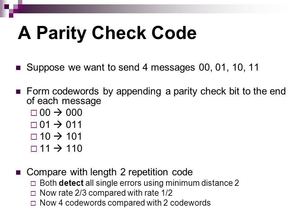 A Parity Check Code Suppose we want to send 4 messages 00, 01, 10, 11 Form codewords by appending a parity check bit to the end of each message 00 000 01 011 10 101 11 110 Compare with length 2 repetition code Both detect all single errors using minimum distance 2 Now rate 2/3 compared with rate 1/2 Now 4 codewords compared with 2 codewords