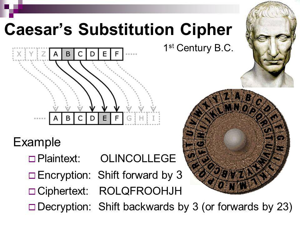 Caesars Substitution Cipher Example Plaintext: OLINCOLLEGE Encryption: Shift forward by 3 Ciphertext: ROLQFROOHJH Decryption: Shift backwards by 3 (or forwards by 23) = 3 1 st Century B.C.