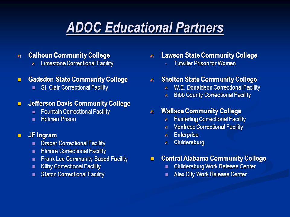 ADOC Educational Partners Calhoun Community College Limestone Correctional Facility Gadsden State Community College Gadsden State Community College St