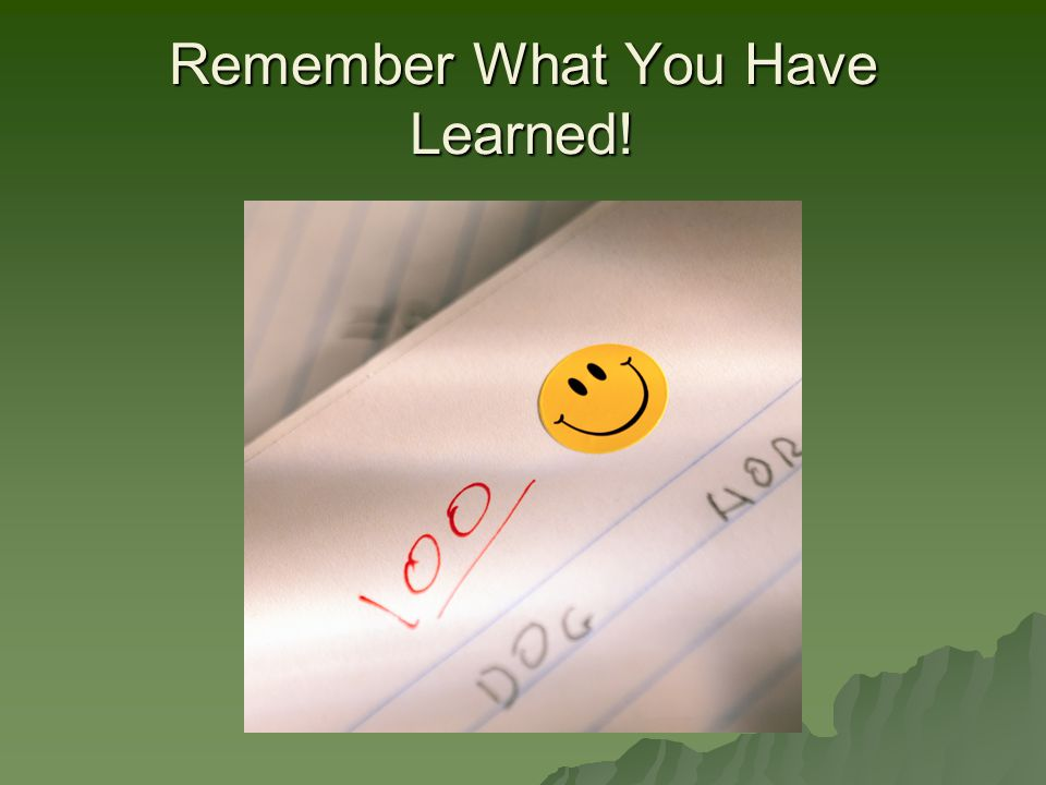 Remember What You Have Learned!