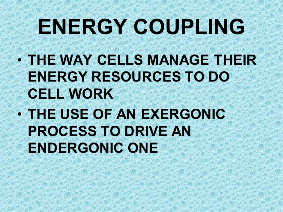 ENERGY COUPLING THE WAY CELLS MANAGE THEIR ENERGY RESOURCES TO DO CELL WORK THE USE OF AN EXERGONIC PROCESS TO DRIVE AN ENDERGONIC ONE