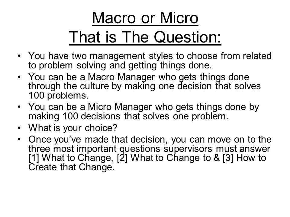 Macro or Micro That is The Question: You have two management styles to choose from related to problem solving and getting things done. You can be a Ma