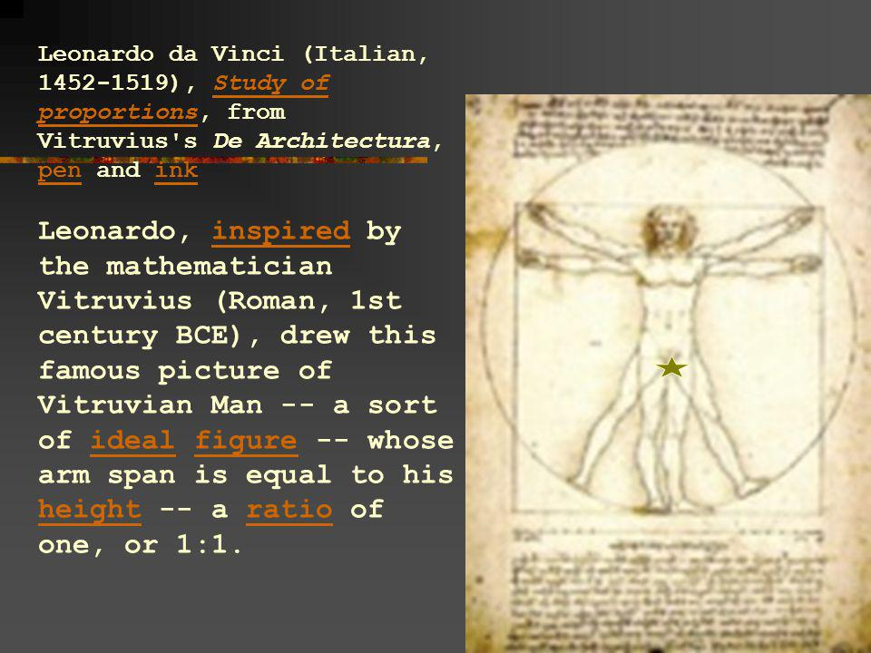 Leonardo da Vinci (Italian, 1452-1519), Study of proportions, from Vitruvius's De Architectura, pen and inkStudy of proportions penink Leonardo, inspi