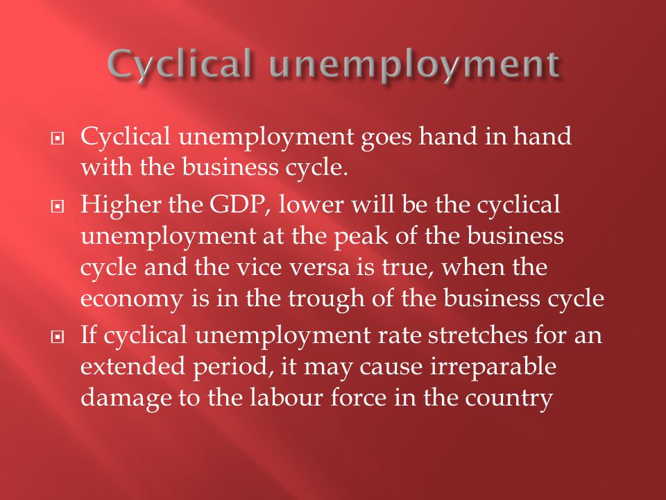 Cyclical unemployment goes hand in hand with the business cycle.