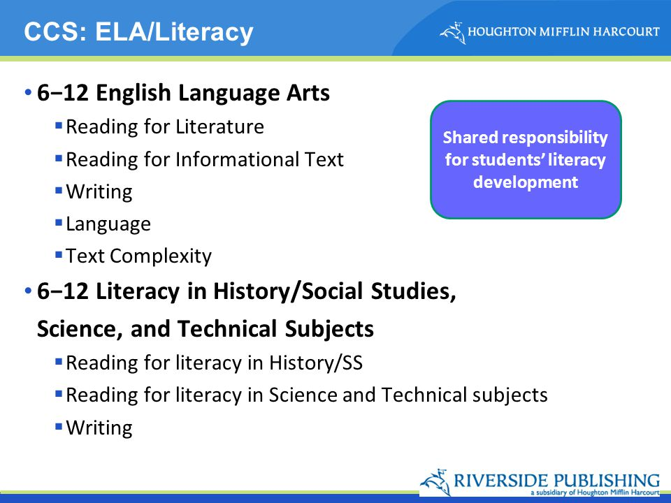 612 English Language Arts Reading for Literature Reading for Informational Text Writing Language Text Complexity 612 Literacy in History/Social Studie