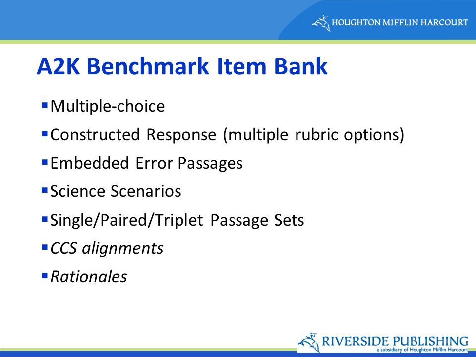 A2K Benchmark Item Bank Multiple-choice Constructed Response (multiple rubric options) Embedded Error Passages Science Scenarios Single/Paired/Triplet