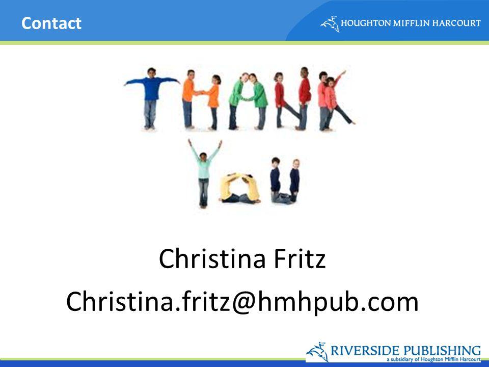 Contact Christina Fritz Christina.fritz@hmhpub.com