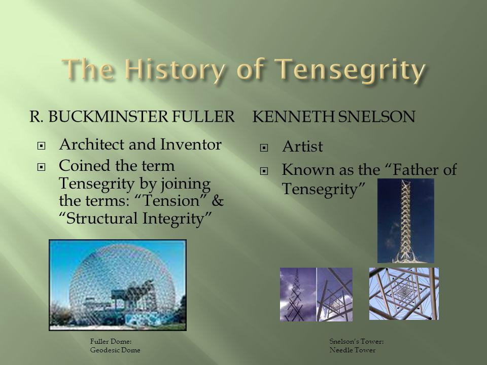 R. BUCKMINSTER FULLER KENNETH SNELSON Architect and Inventor Coined the term Tensegrity by joining the terms: Tension & Structural Integrity Artist Kn