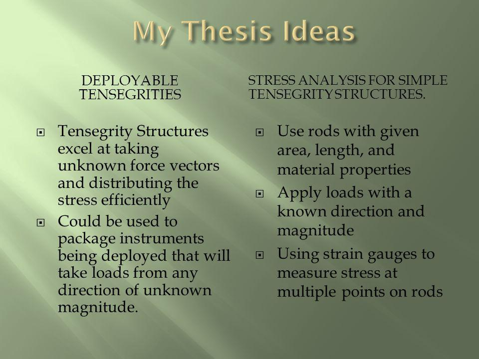 DEPLOYABLE TENSEGRITIES STRESS ANALYSIS FOR SIMPLE TENSEGRITY STRUCTURES. Tensegrity Structures excel at taking unknown force vectors and distributing