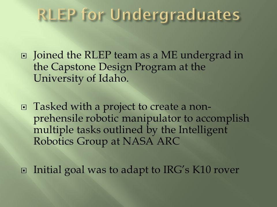 Joined the RLEP team as a ME undergrad in the Capstone Design Program at the University of Idaho. Tasked with a project to create a non- prehensile ro
