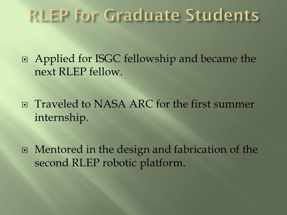 Applied for ISGC fellowship and became the next RLEP fellow. Traveled to NASA ARC for the first summer internship. Mentored in the design and fabricat