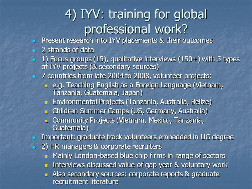 4) IYV: training for global professional work? Present research into IYV placements & their outcomes Present research into IYV placements & their outc