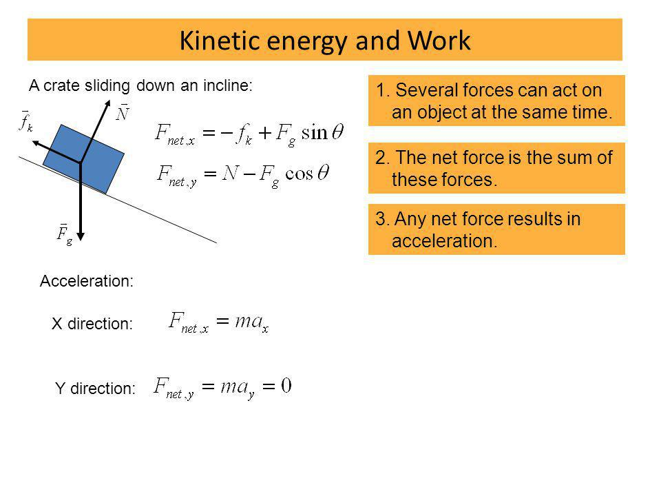 Kinetic energy and Work 1. Several forces can act on an object at the same time.