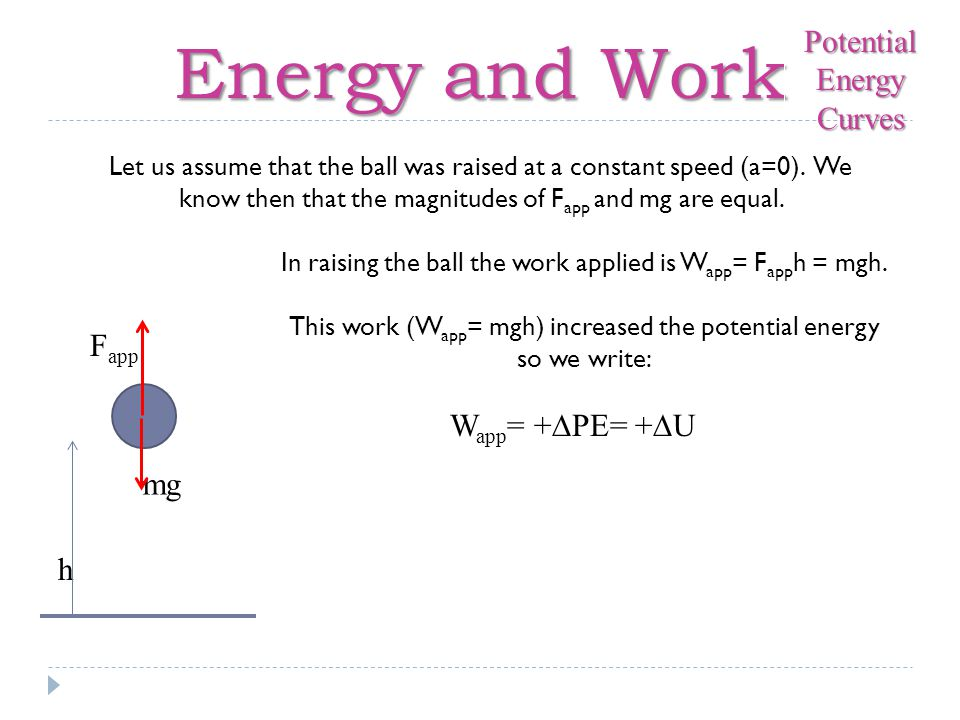 Energy and Work h F app mg Let us assume that the ball was raised at a constant speed (a=0).