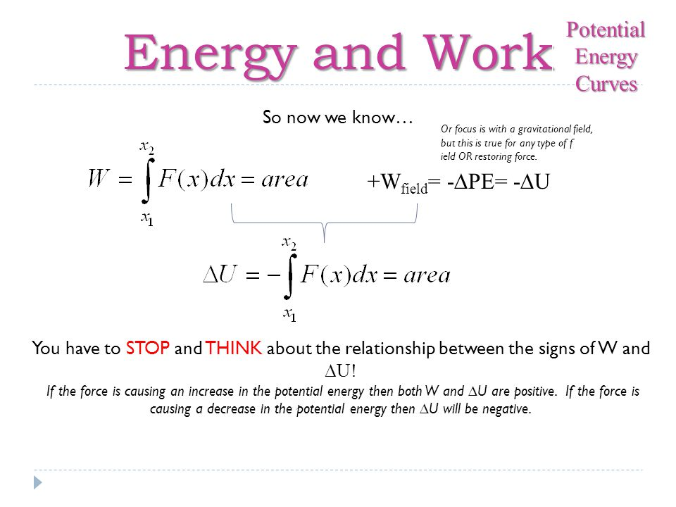Energy and Work If potential energy is the (negative) antiderivative of force (with respect to displacement) then how would we find the force if we were given a potential energy function.