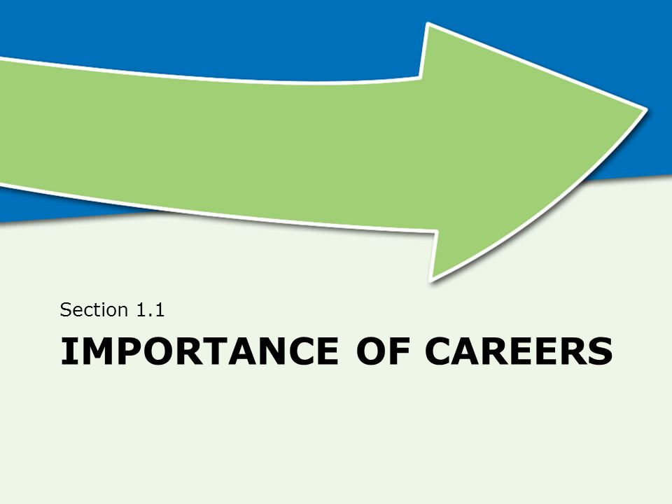 IMPORTANCE OF CAREERS Section 1.1