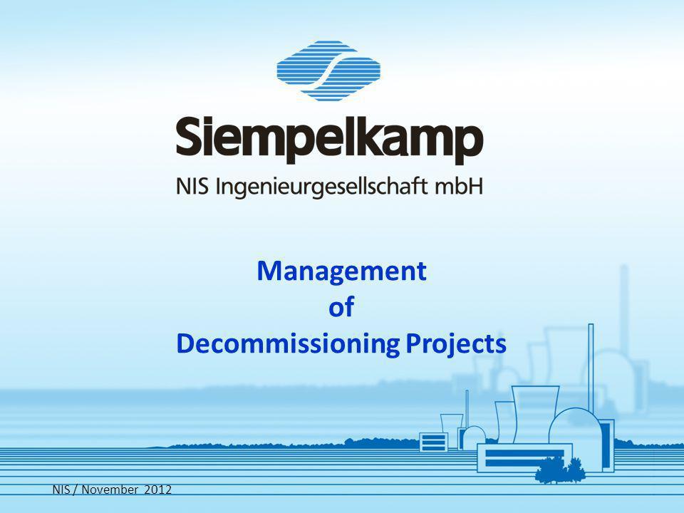 Cost Comparison Decommissioning Management NIS November 2012
