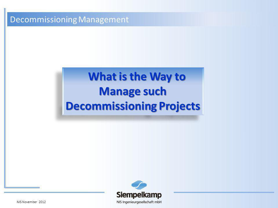 Decommissioning Management Evaluated by Decommissioning Tasks Total () 1- Operation 2- Dismantling 3- Waste Management Evaluated by Decommissioning PhasesTotal () 1- Post Operational Phase 2- Dismantling Phase 3- Conventional Demolition Work Breakdown Structure Total ()