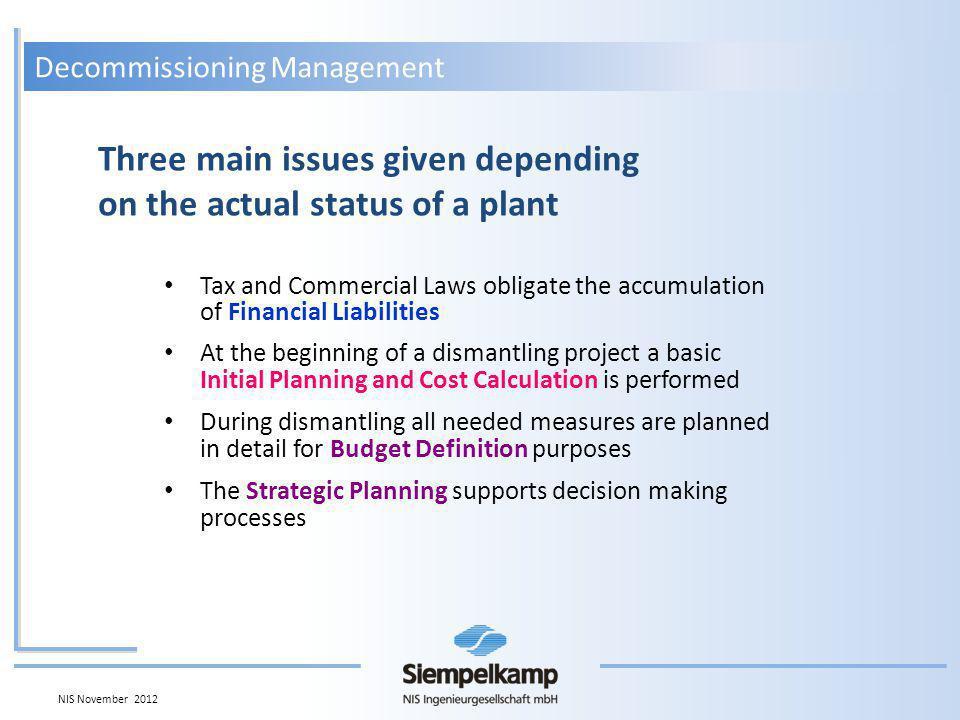 Element 01.01Element 01.02Element 01.03 Relevance 30% Relevance 10% Relevance 60% Element 02.01Element 02.02 Relevance 70% Relevance 30% Element 01 Element 02 Total Project Progress 15% Progress 44% Progress 3% Progress 90% Progress 100% 5%4,4%1,8% Progress 11,2% 63%30% Progress 93% + ++ 11,2% 0% + 11,2% Project Progress Relevance 100% Relevance 0% Decommissioning Management NIS November 2012